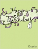 FL02 Happy Birthday Flourish in green Card