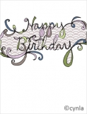 FL03 Happy Birthday Flourish in purp Card