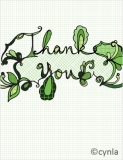 TY01 Thank You in green - Blank Card
