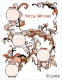 DL03 Lanterns red - Birthday Card