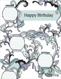 DL04 Lanterns blue - Birthday Card