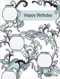 DL04 Lanterns blue - Birthday Card