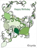 DL05 Leaves Green - Birthday Card